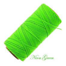 Galantéria - Linhasita voskovaná šnúrka na micro macramé, 1mm, bal.1klbko (168m), farebná škála č.3 (Neon Green) - 9994668_