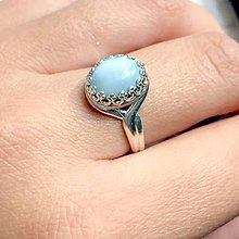 Prstene - Blue Opal Silver Ag925 Ring / Strieborný vintage prsteň s modrým opálom /1048 - 10000460_