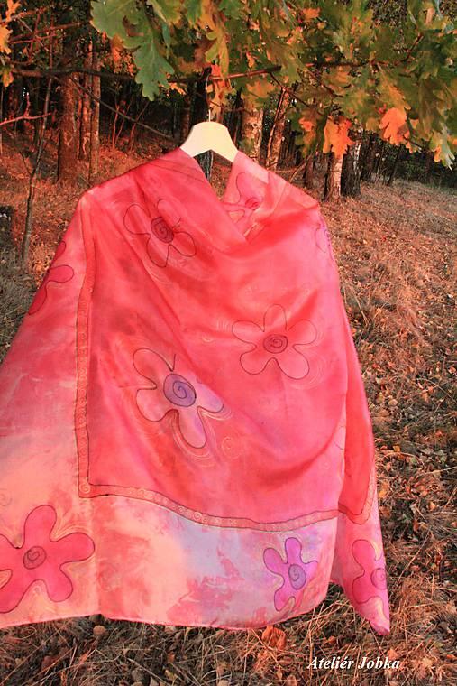 Hedvábný šátek Květy   jobka - SAShE.sk - Handmade Šatky 2d3ec00324