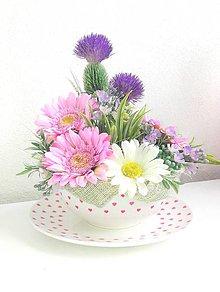 Dekorácie - kvetinový aranžmán v keramike - 9999586_