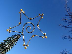 Dekorácie - hviezda Vianoc...špic na stromček (zlatý) - 10000576_