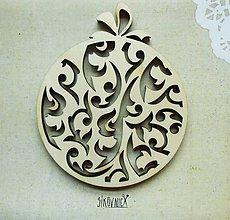 Polotovary - Výrez z preglejky - Vianoce - vyrezávaná guľa, 10,5x8,8 cm - 9998398_