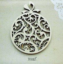 Polotovary - Výrez z preglejky - Vianoce - vyrezávaná guľa, 10,5x8,8 cm - 9998400_