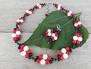 Sady šperkov - Luxusná prepletaná súprava z praskaného krištáľu, onyxu a červeného koralu - 9997616_