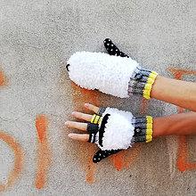 Rukavice - Otváracie biele našuchorené rukavice - 10000039_