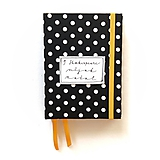 Papiernictvo - DIÁR čierno-žltý bodkáč (ľubovoľný nápis) - 9998612_