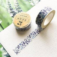 Papier - dekoračná washi páska Modrotlačové kvetinky, 15 mm x 7 m - 9998079_