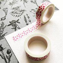 Papier - dekoračná washi páska Tmavoružové srdiečka, 15 mm x 7 m - 9998157_