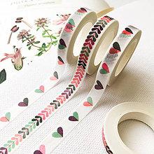 Papier - dekoračná washi páska Srdienka, 7 mm x 5 m (Srdiečka) - 9998210_