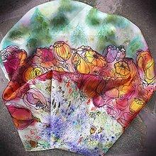 Šatky - Za kvetinovým lesom-hodvábna maľovaná šatka - 10000594_
