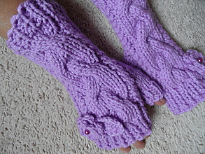 Rukavice - fialové bezprstové rukavice s kvietkom - 9999519_