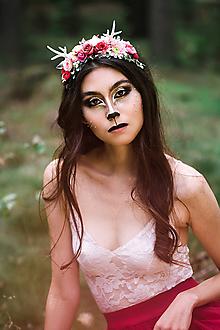 Ozdoby do vlasov - Nežná kvetinová čelenka s parožkami Halloween - 9997524_