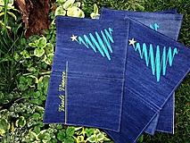 Úžitkový textil - Vianočné prestieranie z recyklovanej džínsoviny - 9999134_