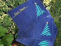 Úžitkový textil - Vianočné prestieranie z recyklovanej džínsoviny - 9999157_