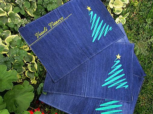 Vianočné prestieranie z recyklovanej džínsoviny
