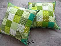 Úžitkový textil - Vankúše zelené kocky - 9999211_