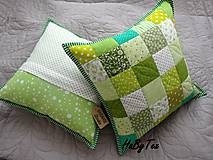 Úžitkový textil - Vankúše zelené kocky - 9999213_