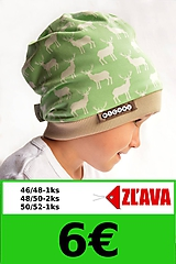Detské čiapky - Bavlnená čiapka s menom- jelene Mild green & coffee - 9998003_