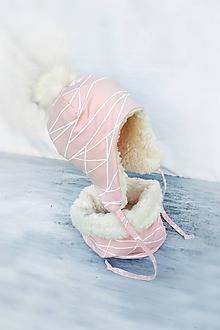 Detské súpravy - Zimný set Lines pink & fleece cream - 10000963_