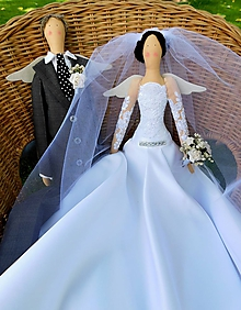 Darčeky pre svadobčanov - Svadobný anjelský párik, 60 cm - 10000646_
