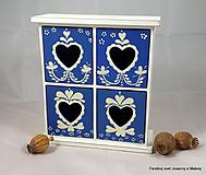 Krabičky - štvoršuplíková skrinka Modrá so srdiečkami - 9999995_