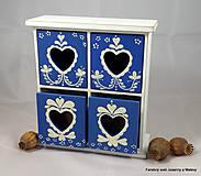 Krabičky - štvoršuplíková skrinka Modrá so srdiečkami - 9999996_