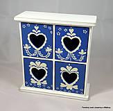 Krabičky - štvoršuplíková skrinka Modrá so srdiečkami - 9999998_