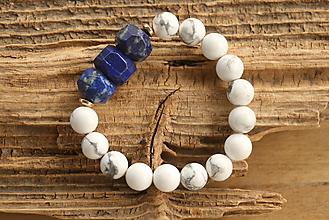 Náramky - Náramok magnezit a lapis lazuli - 10003295_