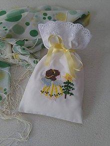 Úžitkový textil - Anjelíček (vyšívané vrecúško) - 10002368_