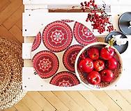 Úžitkový textil - Prestieranie/obrus - bordó mandaly - 10001676_