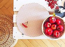 Úžitkový textil - Prestieranie/obrus režný- červené bodky - 10002569_