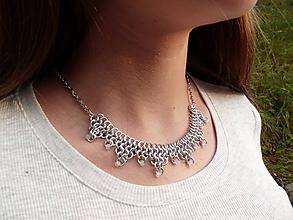 Náhrdelníky - Stříbrný náhrdelník krajkový - 10002838_