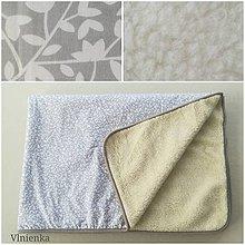 Úžitkový textil - Ovčie runo Deka vlnená Lux lístočky šedé - 10004389_