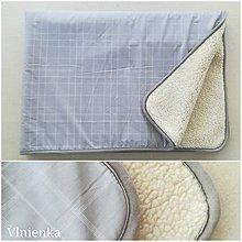 Úžitkový textil - Ovčie runo Deka vlnená Lux Káro šedé - 10004561_