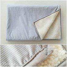 Úžitkový textil - Ovčie runo Deka vlnená Lux PÁSIK šedý - 10004602_