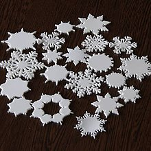 Materiál ručne robený - Snehové vločky, výrezy Sada 20 ks - 10003595_
