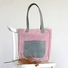 Kabelky - Kožená kabelka Vera (šedo-ružová) - 10001405_
