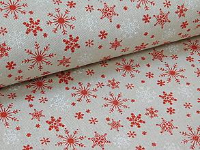 Textil - Vianočná látka - vločky na režnom podklade - 10003258_
