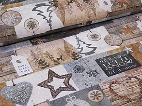 Textil - Vianočná látka  sivo - hnedá - 10003282_