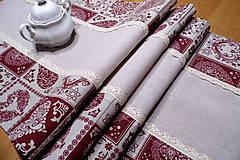 Úžitkový textil - Béžovo vínové srdiečka na režnom s krajkou - čipkou - 10003982_