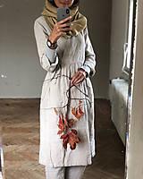 Šaty - Dámske ľanové zavinovacie šaty/kabátik - 10004308_
