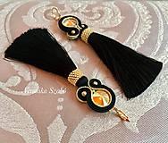 Náušnice - Ručne šité šujtášové náušnice / Soutache earrings -  Swarovski®️crystals - 10002381_
