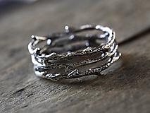 Prstene - Vetvičkový a tŕňový strieborný s patinou - 10003890_