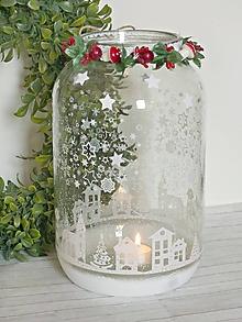 Svietidlá a sviečky - Zimná krajina svietnik XL - 10003391_