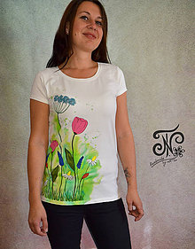 Tričká - Watercolour lúka - ručne maľované tričko  (maľovaný bok -M) - 10002108_