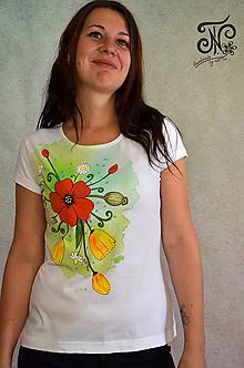 Tričká - Watercolour lúka - ručne maľované tričko  (s makmi - M) - 10002137_
