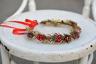 Ozdoby do vlasov - Zlatý vianočný venček - výpredaj - 10001255_