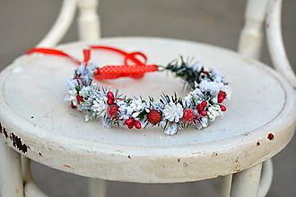 Ozdoby do vlasov - Červený vianočný venček - 10001267_