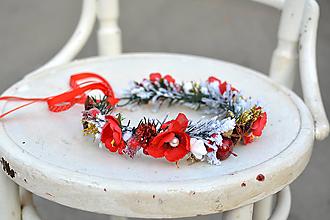Ozdoby do vlasov - Červený vianočný venček - 10001279_