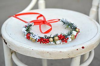 Ozdoby do vlasov - Zlatý vianočný venček - 10001283_